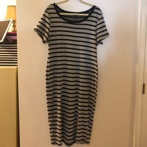 Forever21 Black and Grey Striped Bodycon Dress